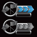 Racing flags on checkered arrow nameplates Royalty Free Stock Photo