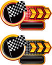 Racing flags on checkered gold arrow banners Stock Photography