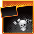 Racing flags and skull on halftone banner template Stock Images