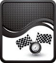 Racing flags and speedometer on black checked wave Stock Images