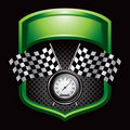 Racing flags and speedometer on green display Royalty Free Stock Photography