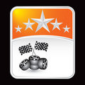 Racing flags and tires on orange tire backdrop Royalty Free Stock Photography