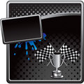 Racing flags and trophy on halftone advertisement Stock Image