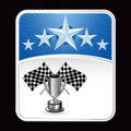 Racing flags and trophy under blue star background Royalty Free Stock Photos