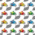 Racing motorcycles and checkered flags.