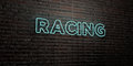 RACING -Realistic Neon Sign on Brick Wall background - 3D rendered royalty free stock image