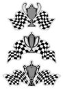 Racing sport awards and trophies with checkered flags isolated on white background Stock Images