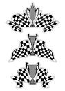 Racing sport emblems with checkered flags and trophies Stock Photo