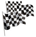 Racing-sport finish 3d flag. Royalty Free Stock Photo