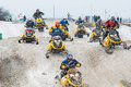 Racing of sportsmen on snowmobile Royalty Free Stock Photo