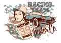 Racing team vector illustration ideal for printing on apparel clothes Royalty Free Stock Image