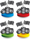 Racing tires and flags on colored discs Royalty Free Stock Photos