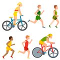 Racing vector bike people cyclist in action fast road biker man flat side front view illustration of cycling. Athlete Royalty Free Stock Photo