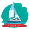 Racing yacht with sails drifting in sea vector illustration isolated Royalty Free Stock Photo
