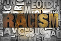 Racism the word written in vintage letterpress type Stock Photo