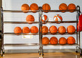 Rack of basketballs Stock Image