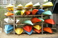 Rack of canoes Stock Image