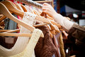 Rack of dresses at market Royalty Free Stock Photo