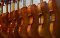 Rack of hanging violins 3 Royalty Free Stock Photo