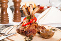 Rack of lamb with onion jam Royalty Free Stock Photo