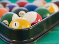 Rack of pool balls Royalty Free Stock Images