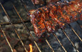 Rack of pork spare ribs on fire barbecue grill Royalty Free Stock Photo