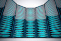 Rack of servers row futuristic mounted in data center bright blue leds Royalty Free Stock Photography