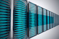 Rack of servers row futuristic mounted in data center bright blue leds Stock Images