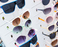 Rack with sunglasses closeup of Royalty Free Stock Photo