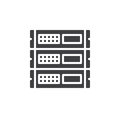 Rack units, servers icon vector, filled flat sign, solid pictogram isolated on white