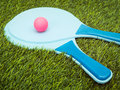 Rackets and ball in grass blue pink Stock Photography