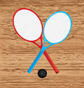 Rackets design over wooden background vector illustration Stock Image