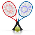 Rackets with tennis ball Stock Photos