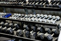 Racks of dumbells at a gym Royalty Free Stock Image