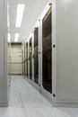 Racks with network equipment in technology telehouse room Royalty Free Stock Photo