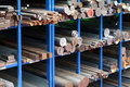 Racks of steel and iron bars Royalty Free Stock Photo