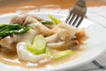 Rad Na, Famous Thai Chinese style wide rice noodle dish with tasty tender pork with thick gravy sauce. close up with fork. Royalty Free Stock Photo