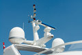 Radar and communication tower on a yacht Royalty Free Stock Photo