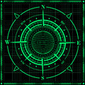Radar compass rose with globe. Royalty Free Stock Photo