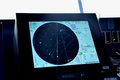 Radar and location screen on bridge of passenger Cruise ship Royalty Free Stock Photo