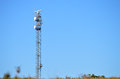 A radar mast on the top of cliffs close to alicante in spain Stock Photography