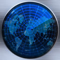 Radar ou sonar de carte du monde Photo stock