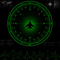 Radar screen with compass surrounding jet fighter commercial jets and piston planes optional eps Royalty Free Stock Images