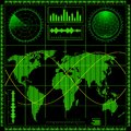 Radar screen with world map Royalty Free Stock Photo