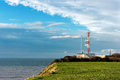 Radar tower near the sea Royalty Free Stock Photography