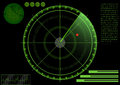 Radar vector illustration of a green with details and scanning and detected a red dot Royalty Free Stock Photography