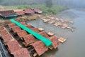 Radeau en bambou de restaurant sur la rivière sur pai river maehongson thailand Images stock