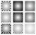 Radial Elements Set. Starburst or Sunburst Backgrounds, Rays Tem Royalty Free Stock Photo