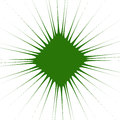 Radial green shape isolated on white background. Square with dis