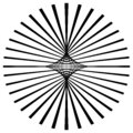 Radial lines, rays, beams circular pattern. Sunburst, starburst with concentric irregular lines. Abstract spirograph shape